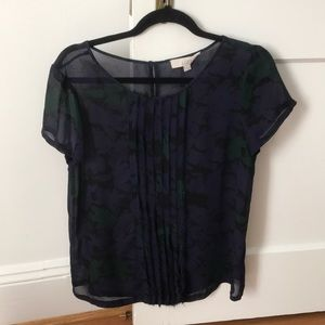 Loft purple/green/black floral shirt sleeve blouse